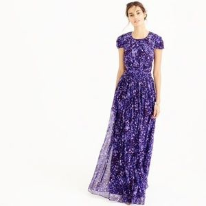 J. Crew Collection Dauphine Gown Watercolor Purple